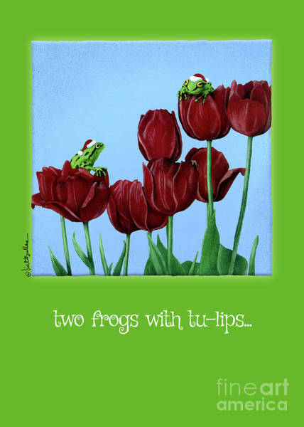 Painting - Two Frogs With Tu-lips... by Will Bullas