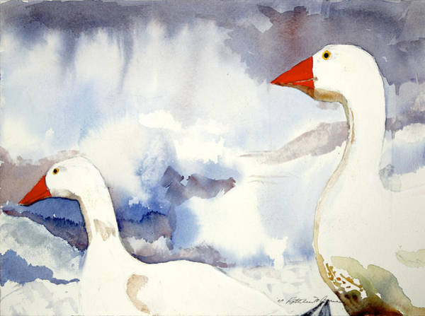 Painting - Two Geese by Kathleen Barnes