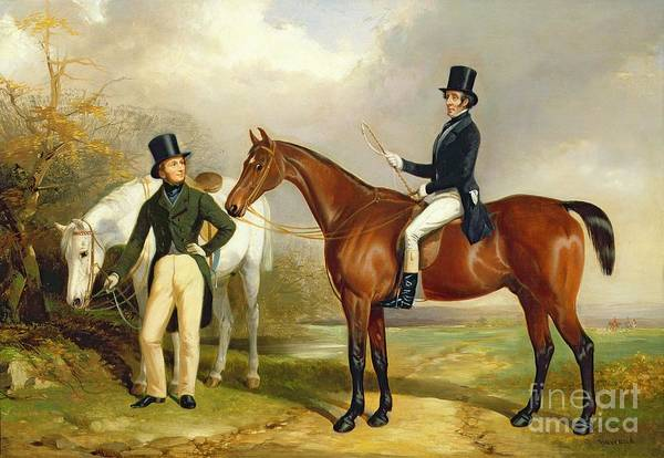 Horseback Wall Art - Painting - Two Gentlemen Out Hunting  by Henry Barraud