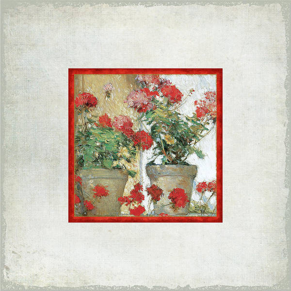 Red Geraniums Wall Art - Painting - Two Geranium Pots by Audrey Jeanne Roberts