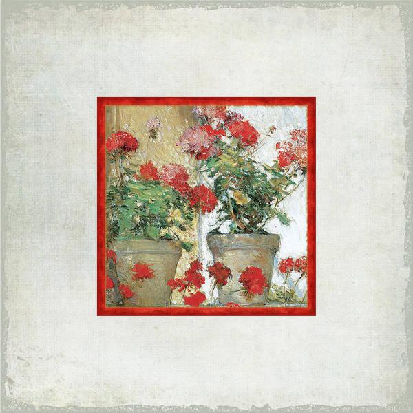 Geranium Wall Art - Painting - Two Geranium Pots by Audrey Jeanne Roberts