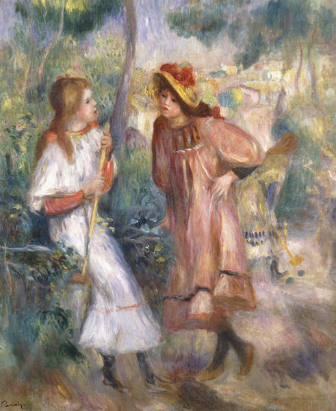 Two Friends Wall Art - Painting - Two Girls In The Garden At Montmartre by Pierre Auguste Renoir