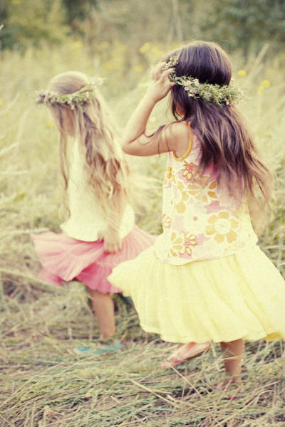 Wall Art - Photograph - Two Girls Walking In Field - F by Gillham Studios
