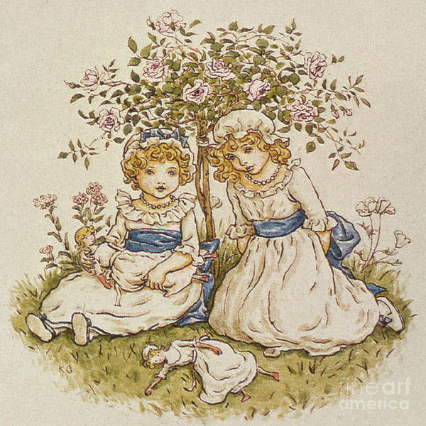 Retro Drawing - Two Girls With Dolls Sitting Under A Rose Bush, 19th Century by Kate Greenaway