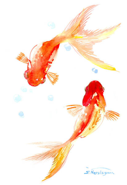 Chinese Brush Painting - Two Goldfish Feng Shui by Suren Nersisyan