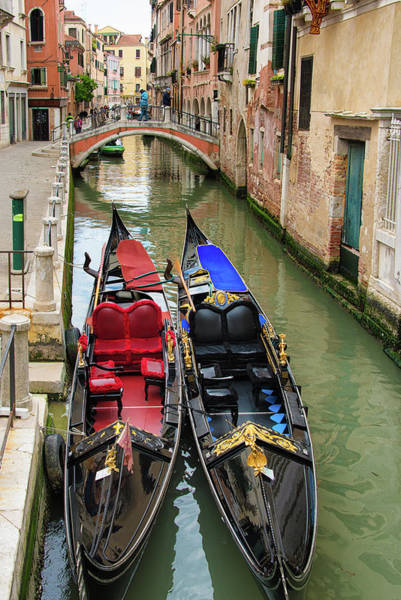Photograph - Two Gondolas In Venice Italy by Matthias Hauser