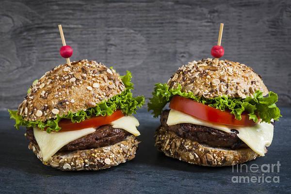 Wall Art - Photograph - Two Gourmet Hamburgers by Elena Elisseeva