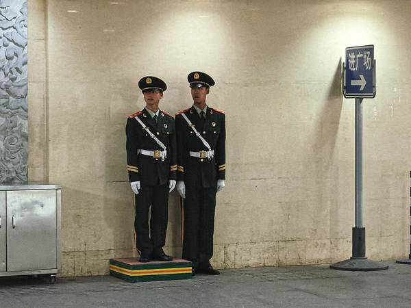Photograph - Two Guards, Beijing 2011 by Chris Honeyman