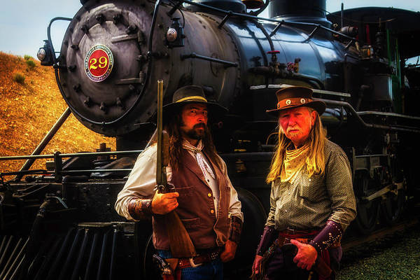 Gunfight Wall Art - Photograph - Two Gunfighters In Front Of Train by Garry Gay