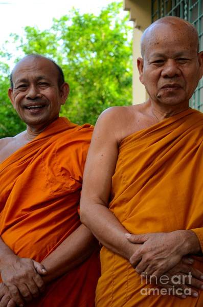 Photograph - Two Happy Laughing Buddhist Monks In Robes Hat Yai Thailand by Imran Ahmed