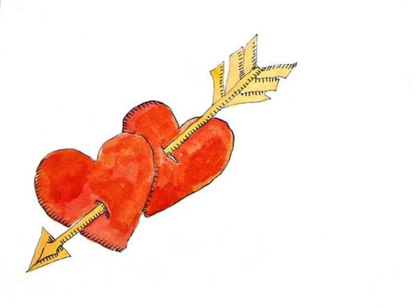 Pierce-arrow Wall Art - Painting - Two Hearts   Arrow by Jennifer Abbot