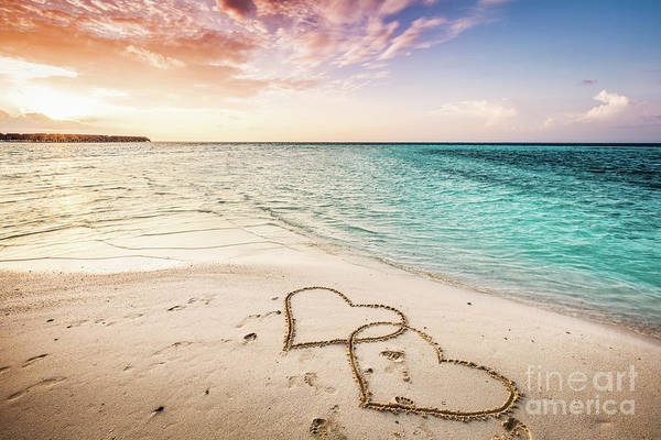 Sketch Holiday Photograph - Two Hearts Drawn On A Sandy Beach By The Sea. by Michal Bednarek