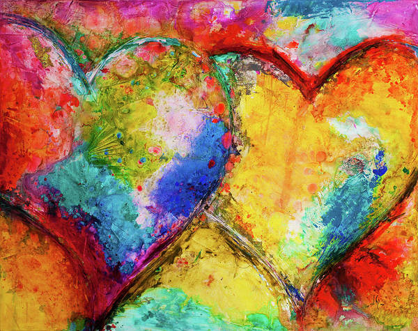 Wall Art - Painting - Two Hearts by Ivan Guaderrama