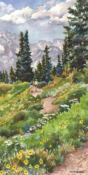 Colorado Wall Art - Painting - Two Hikers by Anne Gifford