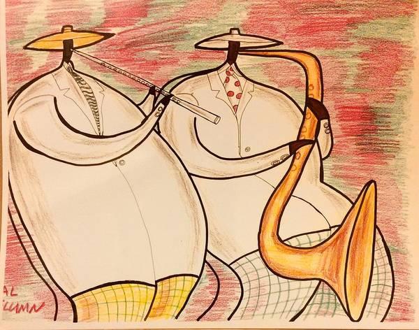 Pokes Wall Art - Drawing - Two Horn Blowers by Al Elumn