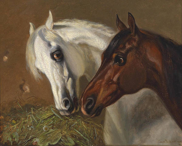 Wall Art - Painting - Two Horse Heads by Emil Volkers