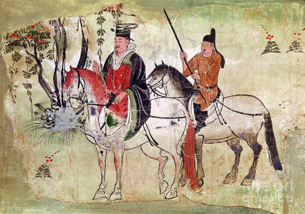 Boddhisatva Wall Art - Painting - Two Horsemen In A Landscape by Chinese School