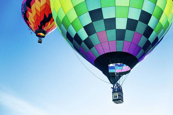 Photograph - Two Hot Air Balloons Ascending by Pete Hendley