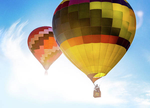 Photograph - Two Hot Air Balloons Into The Sun by Pete Hendley