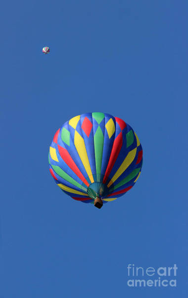 Photograph - Two Hot Air Balloons Playing Tag by Karen Adams