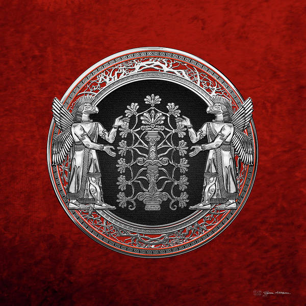 Digital Art - Two Instances Of Silver God Ninurta With Tree Of Life Over Red Velvet by Serge Averbukh