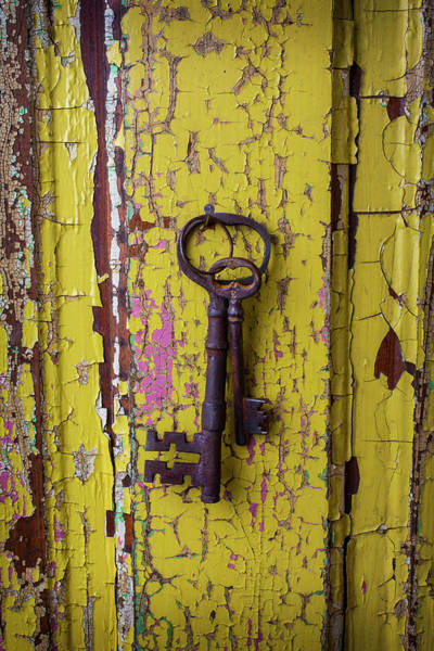 Skeleton Key Photograph - Two Keys On Yellow Door by Garry Gay