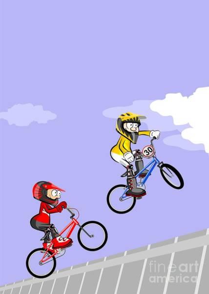 Digital Art - Two Kids Running Dizzily And Jumping On Their Bmx Bikes. by Daniel Ghioldi