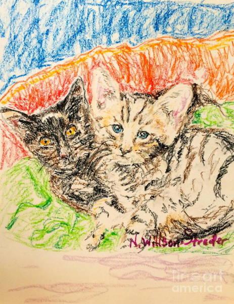Orange Tabby Drawing - Two Kittens by N Willson-Strader