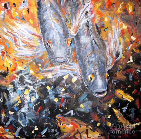 Painting - Two Koi Fish. Collection. Art 2015 by Oksana Semenchenko