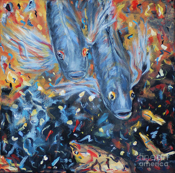 Painting - Two Koi Fish. Painting.  Collection 2015 by Oksana Semenchenko
