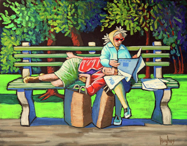 Painting - Two Ladies On Bench by Kevin Hughes
