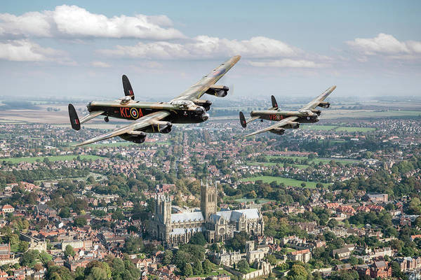 Digital Art - Two Lancasters Over Lincoln Cathedral by Gary Eason