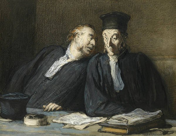 French Artist Drawing - Two Lawyers Conversing by Honore Daumier