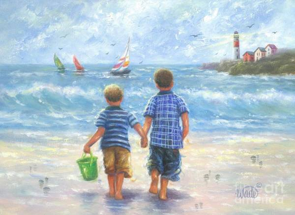 Boys Room Painting - Two Little Beach Boys Walking Brunette by Vickie Wade