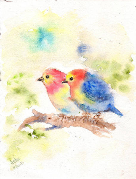 Painting - Two Little Birdies by Asha Sudhaker Shenoy