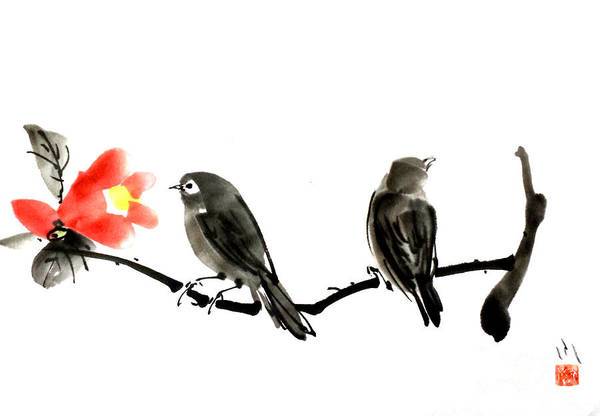 Painting - Two Little Birds by Fumiyo Yoshikawa