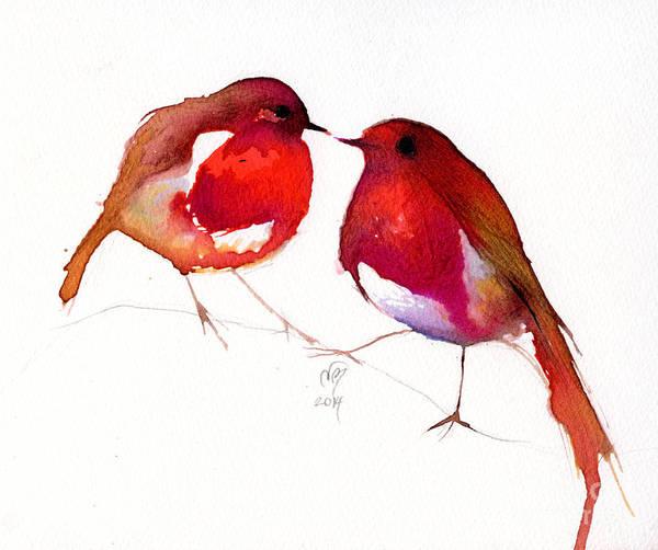 Lovebird Painting - Two Little Birds by Nancy Moniz