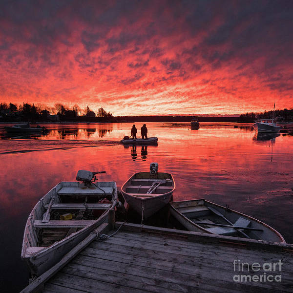 Lobstering Photograph - Two Lobstermen At Sunrise by Benjamin Williamson