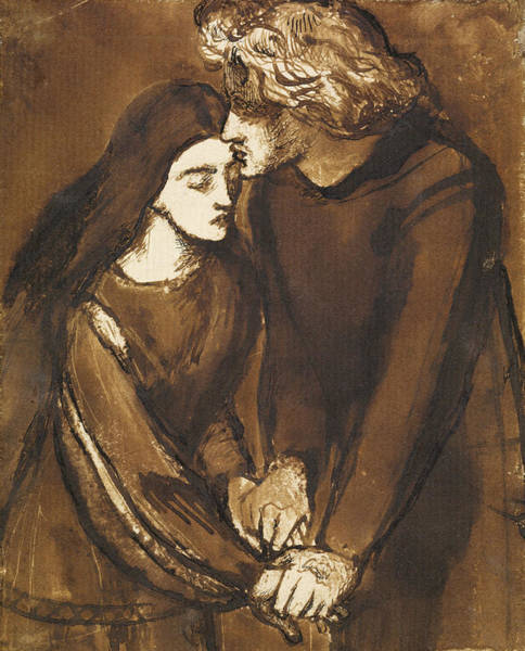 Drawing - Two Lovers by Dante Gabriel Rossetti