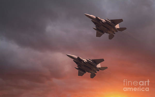 Flyby Photograph - Two Low Flying F-15e Strike Eagles At Sunset by Simon Bratt Photography LRPS