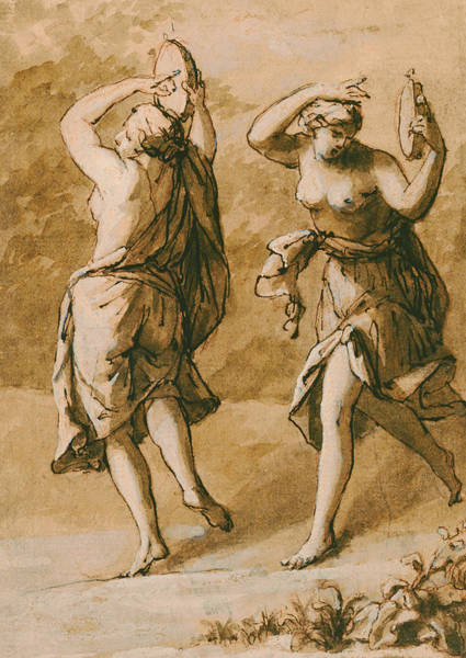 Nymph Drawing - Two Maenads by John Michael Rysbrack