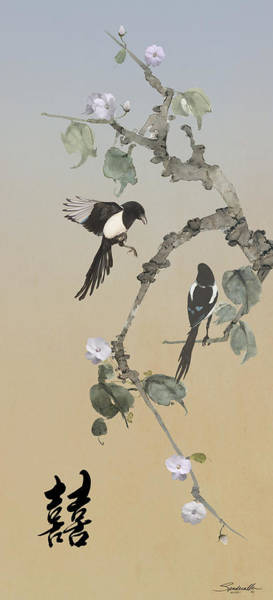 Wall Art - Digital Art -   Two Magpies                       by M Spadecaller
