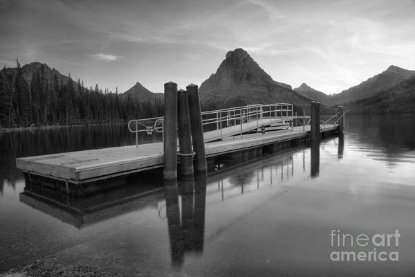 Photograph - Two Medicine Boat Dock Black And White by Adam Jewell
