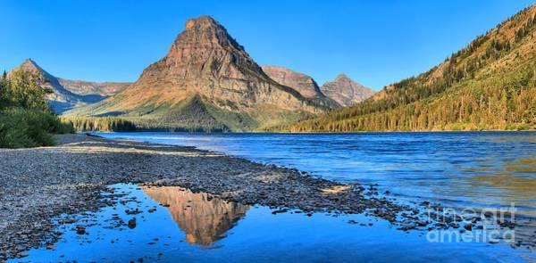 Photograph - Two Medicine Lake Sunrise Panorama by Adam Jewell
