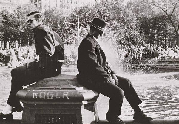 Washington Square Park Wall Art - Photograph - Two Men Sitting Back To Back Near Washington Square Park Fountain by Nat Herz