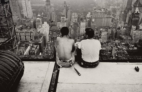 Fearless Photograph - Two Men Sitting On A Scaffold Overlooking Manhattan by Nat Herz