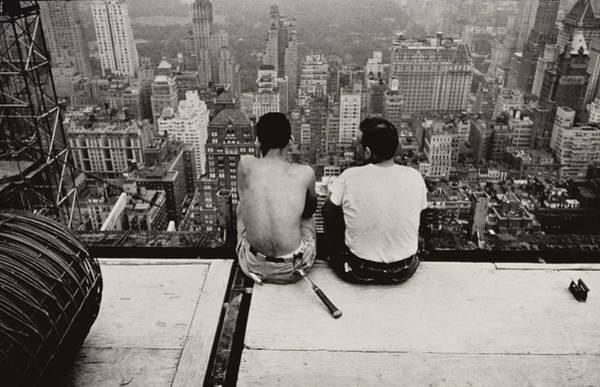 Wall Art - Photograph - Two Men Sitting On A Scaffold Overlooking Manhattan by Nat Herz
