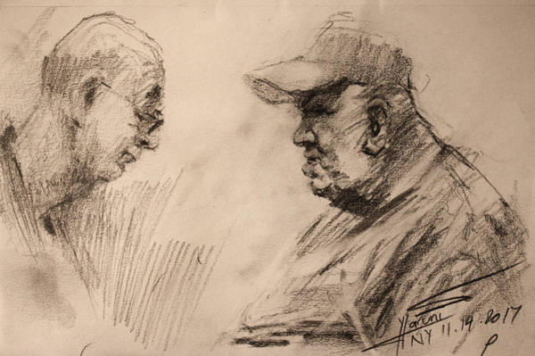 Wall Art - Drawing - Two Men by Ylli Haruni