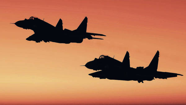 Painting - Two Migs At Sunset by Andrea Mazzocchetti