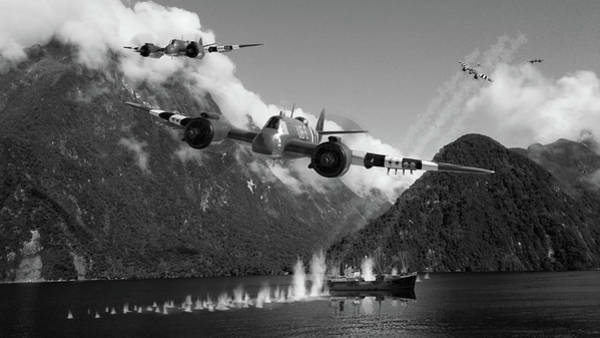 Royal Air Force Digital Art - Two Minutes Of Terror - Bw by Mark Donoghue